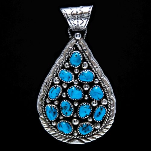 Large Teardrop Turquoise Cluster Pendant