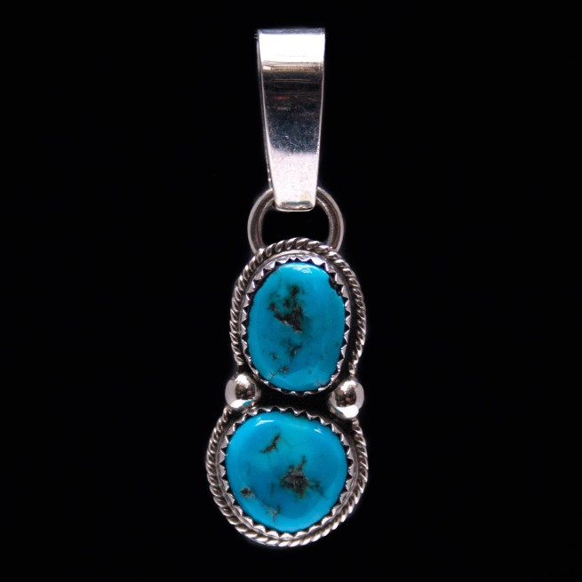 Double Turquoise Silver Pendant