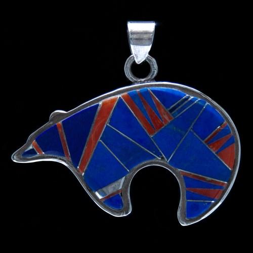 Lapis Coral Zuni Bear Pendant