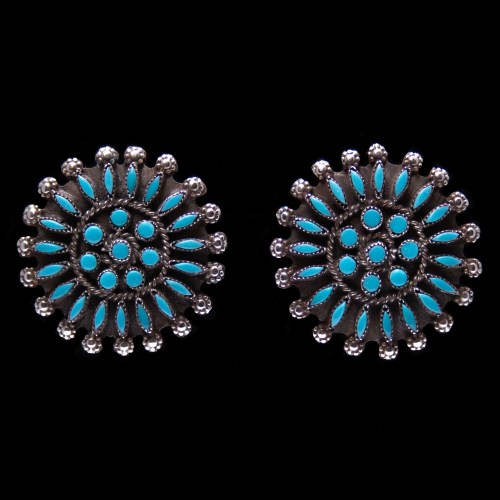 Needlepoint Turquoise Clip-On Earrings