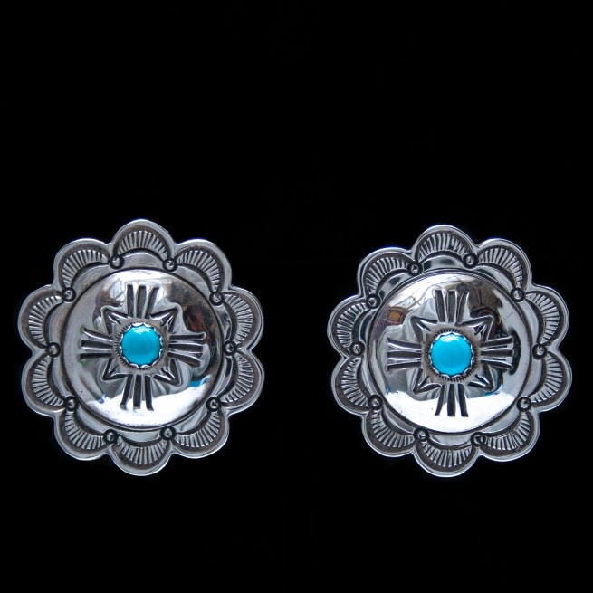 Silver Turquoise Clip-On Earrings