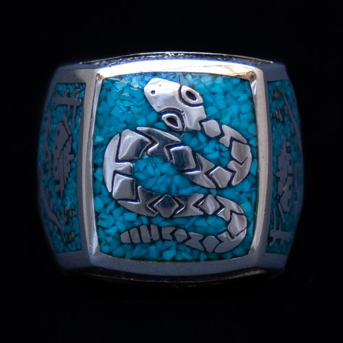 Silver Turquoise Snake Signet Ring