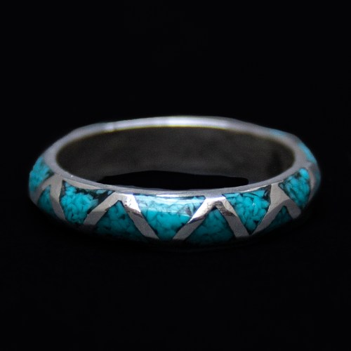 Thin Turquoise Silver Ring