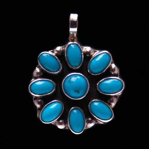 Zuni Flower Turquoise Silver Pendant