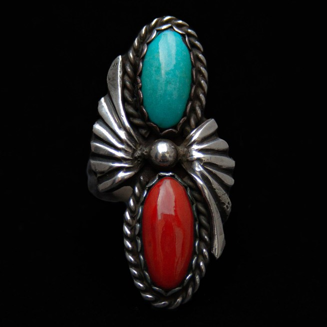 Antique Turquoise Coral Ring