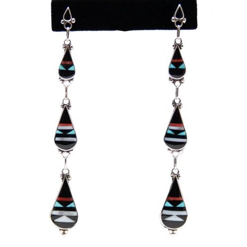Long Slim Zuni Inlay Drop Earrings