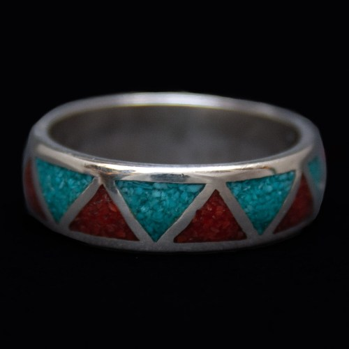 Red Blue Zigzag Ring