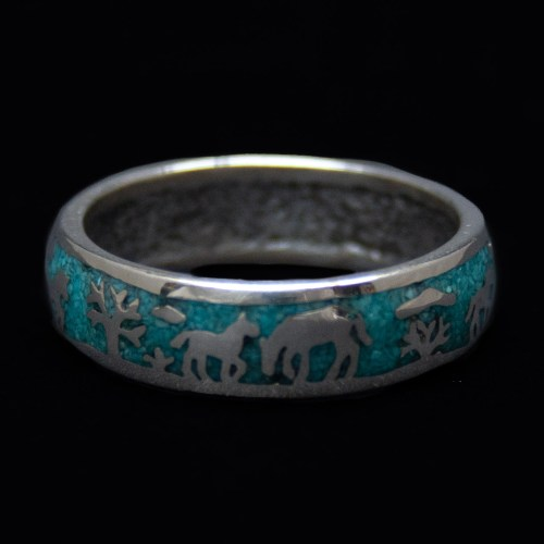 Turquoise Silver Horse Ring