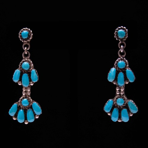 Traditional Zuni Turquoise Earrings