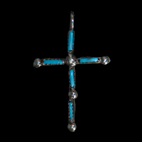 Reversible Turquoise Coral Cross Pendant