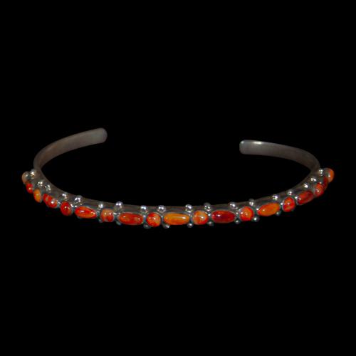 Thin Orange Shell Zuni Bracelet
