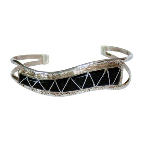 Zuni Jet Silver Bracelet