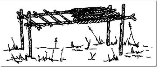 Swamp bed shelter using poles and poles, and foriage