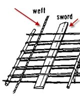 The Sword Mat Loom weft and sword