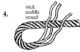 Stick middle strand under one of the other strands