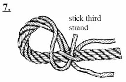 Stick the third strand under the remaining strand of the standing end
