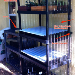 Build a cheap min-greenhouse out of old shelving units