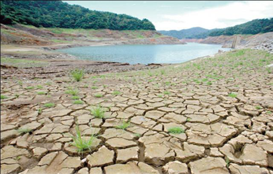 Dry, parched land short of water