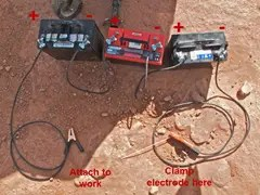 Typical setup for a welder using automobile batteries