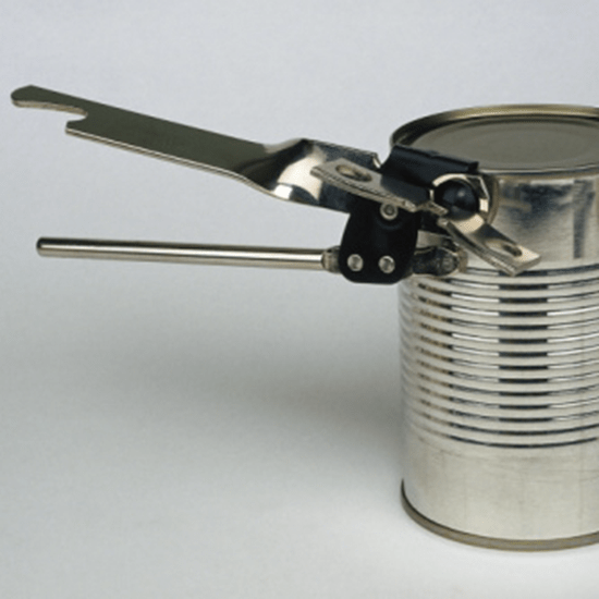 Opening a can with a can opener