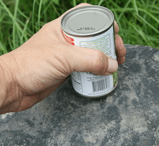 Rub can on concrete
