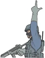 Hand signal for rifle weapon