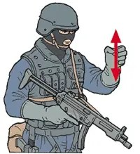 Hand signal for shotgun weapon