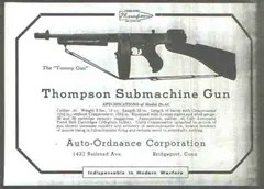 Advertisement for Thompson Submachine gun