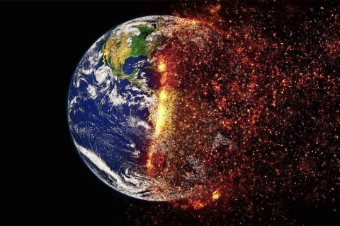 Climate change - earth burning to cinder