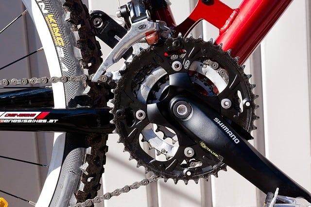 bottom bracket gear installed on a mountain bike