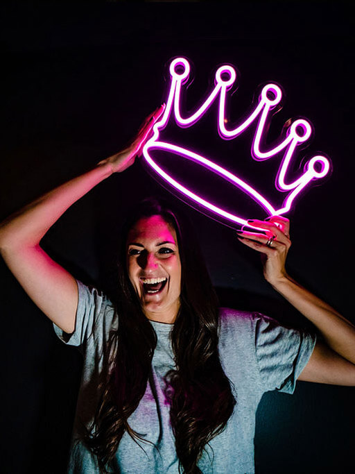 personalised neon sign led neon pink crown by wildfire neon