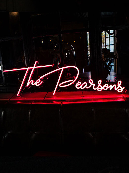 personalised neon sign led neon surname by wildfire neon