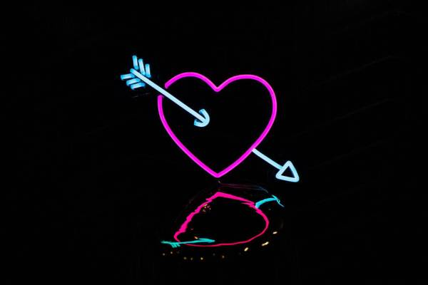 wildfire led neon sign Heart and arrow pink blue led neon sign 1