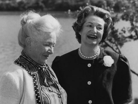 Lady Bird Johnson and Helen Hayes