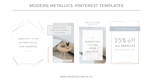 Modern Metallics - Pinterest Templates