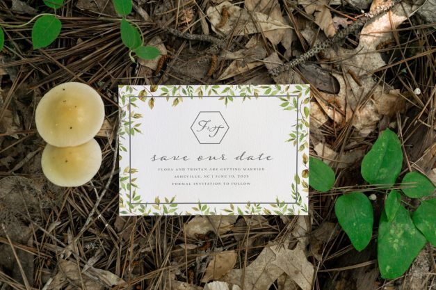 hidden garden - save the date - Forest Stationery Mockup 16
