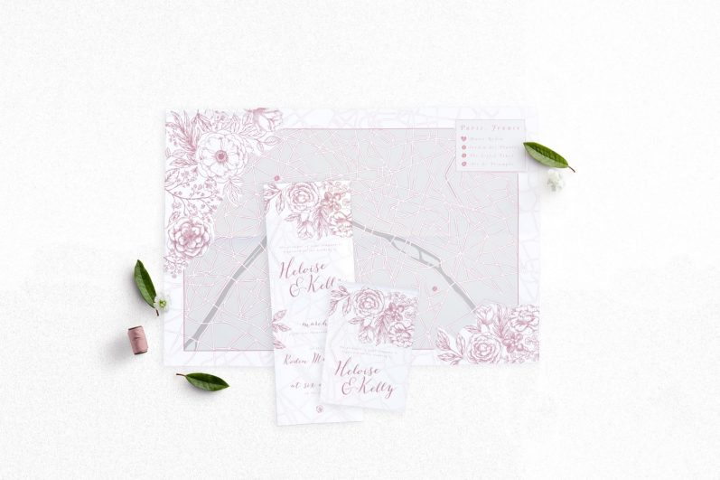 Folded Map Mockups - Pink Paris 1