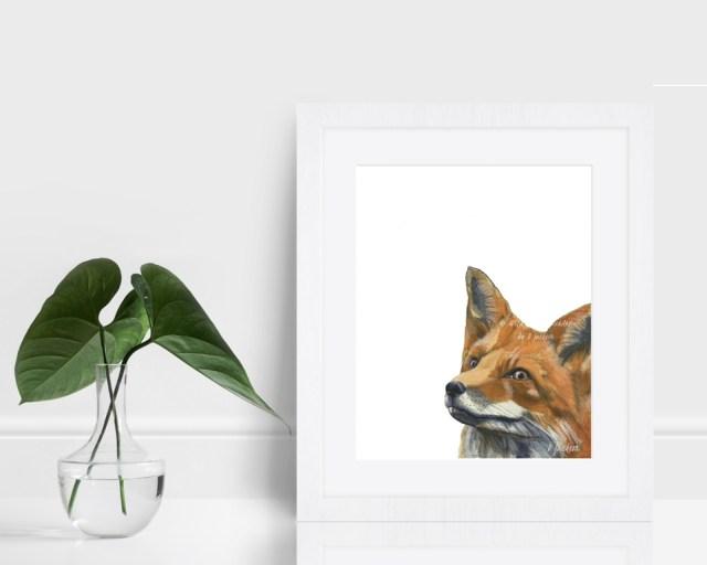 Red Fox Watercolor Art Print