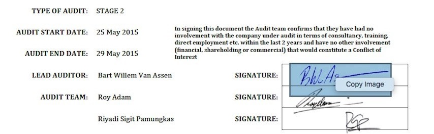 Falsified signatures