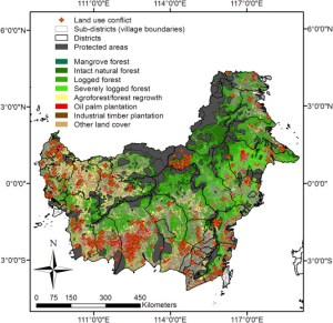 Location of villages (n = 187) with land use (oil palm) conflict occurrence in Kalimantan, Indonesian Borneo, with sub-district (grey lines) and district (black lines) information, with protected areas (grey) and 2010 land cover types (from Gaveau et al., 2014).
