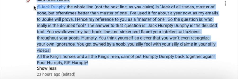 "Jack ""Humpty"" Dunphy had a great fall…"