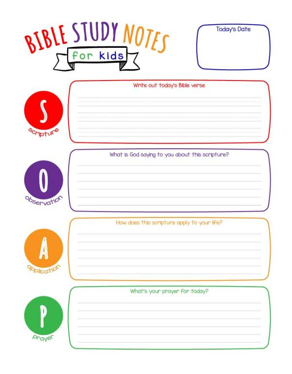 Bible Study Notes for Kids (S.O.A.P. for Kids) Printable (Color & Black & White)