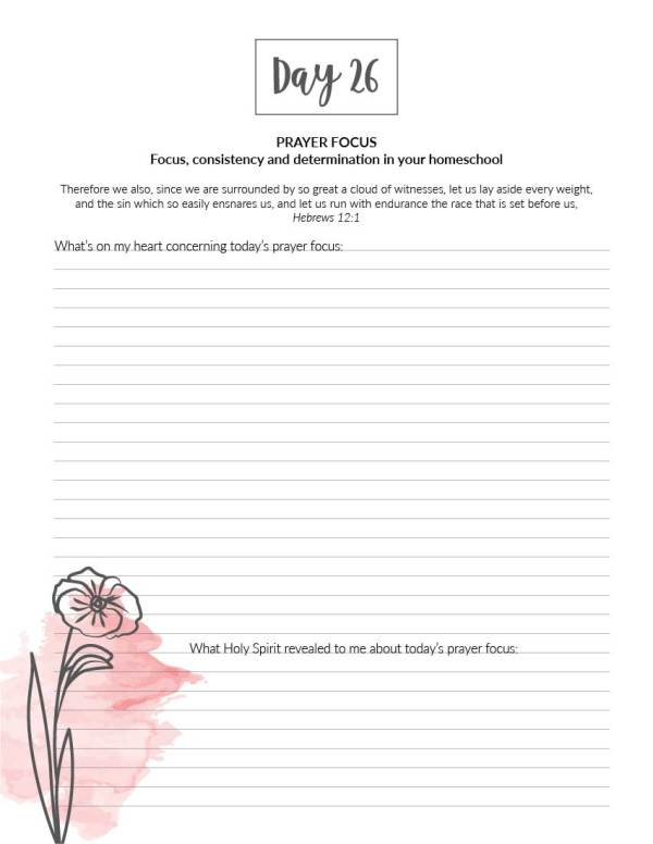 My Homeschool Prayer Journal (Printable) with 30 prayer prompts to help encourage you in your homeschool endeavours, seeking God's heart while building faith and a deeper, personal relationship with God.