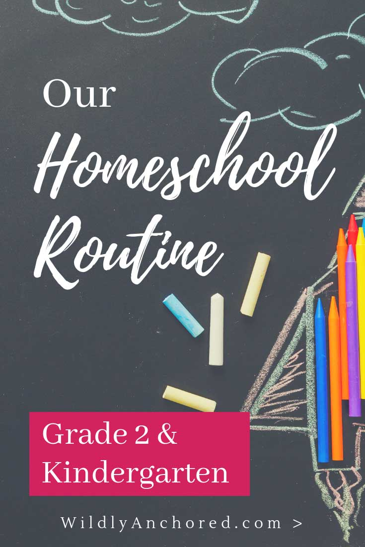 Ever wonder about homeschool routines? Here is our homeschool routine with a grade 2 and kindergarten child! #homeschoolroutine #homeschoolschedule