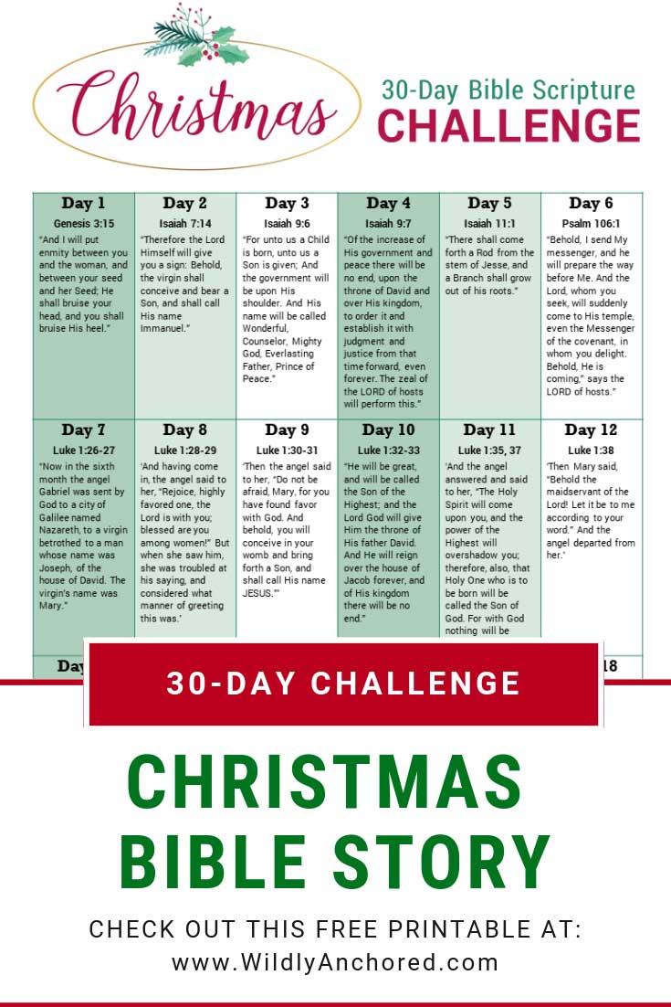 Christmas Bible Story + 30-Day Bible Scripture Challenge FREE Printable