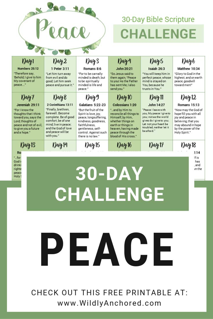 Peace isn't the absence of something; it's the presence of Someone. Dig into these 30 Bible verses about peace and see what God will open up to you! + 30-Day Scripture Bible Challenge FREE Printable #scripturechallenge #peaceofGod #Biblejournaling #scripturewriting #dailydevotional