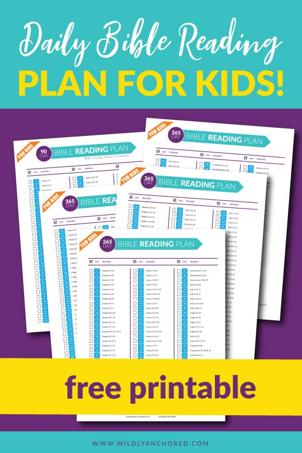 Get your FREE Daily Bible Reading Plan for Kids printable to help your children cultivate their relationship with the Lord by learning to love His Word! #christian #Biblereadingforkids #Christiankids