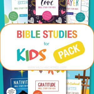 Bible Studies for Kids Pack including Bible studies on love, prayer, gratitude, Easter, Christmas and the Seed and the Sower!