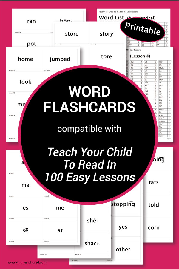 Word Flashcards compatible with Teach Your Child To Read In 100 Easy lessons (Printable)