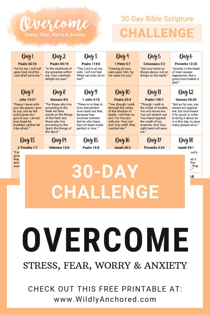 Help overcome stress, fear, worry & anxiety with these 30 Bible verses + FREE 30-day Bible scripture challenge